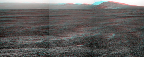 Sol 2670 südliches Panorama in 3D